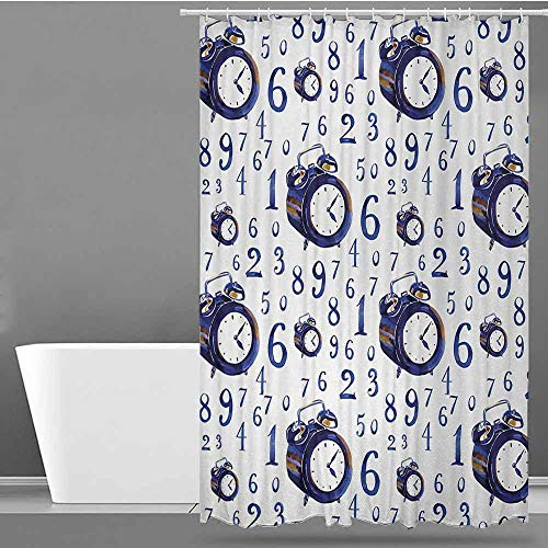 ONECUTE Polyester Shower Curtain,Clock Watercolor Style Effect with an Alarm Clock Illustration Caligraphic Numbers,Shower Hooks are Included,W47x63L Blue and White