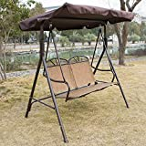 UHOM Outdoor 2 Person Canopy Porch Swing Chair Glider Hammock Patio Bench Porch Furniture Love Seat(Brown)