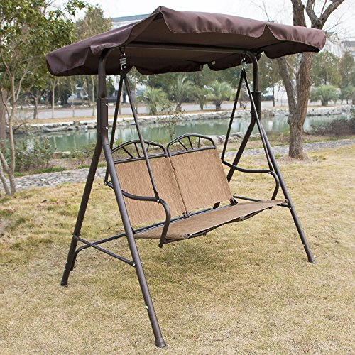UHOM Outdoor 2 Person Canopy Porch Swing Chair Glider Hammock Patio Bench  Porch Furniture Love Seat