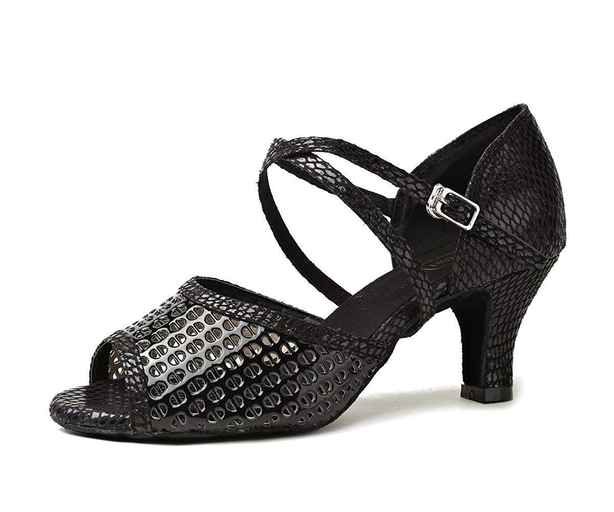 Qiusa GL256 Damen Cut-Out Atmungsaktive Synthetische Sport Tanzschuhe (Farbe   schwarz-6cm Heel Größe   4.5 UK)