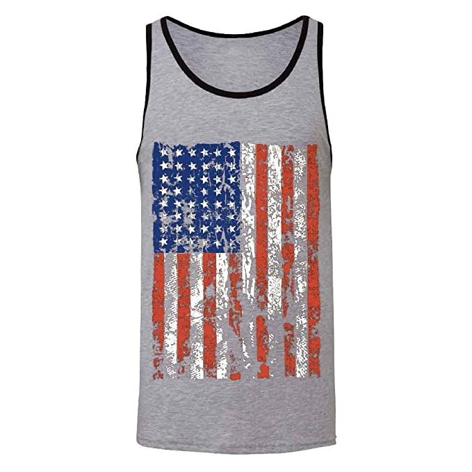 9e2823c85e8ecd Distressed American Flag Men s Tank Top Vintage USA Flag 4th of July Shirts  Athletic Heather