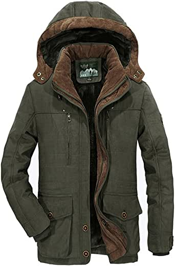 Tomsweet Parka Jacket Mens Coats with Fur Hood Winter Warmth Thicken Casual Outwear Coat
