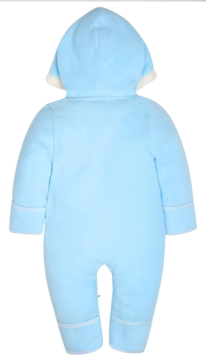 Light Blue Honglin Baby Boys Girls Polar Fleece Hoodie Hooded Jumpsuits Soft Zipper Rompers Outwear