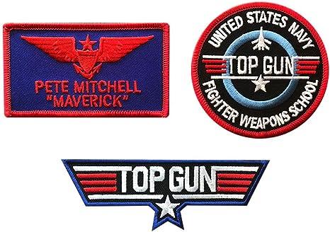 Top Gun Movie Maverick Pete Mitchell 3 Sew On 1 Name Tag Hook /& Loop