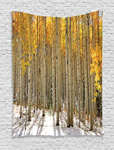 Ambesonne Farm House Decor Collection, Aspen Trees with Golden Leaves in Snow, Forest in Early Winter Time Landscape, Bedroom Living Room Dorm Wall Hanging Tapestry, Gold White Beige (Snow In Forest)