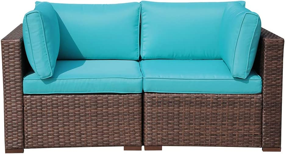 Outdoor Couch Corner Sofa Chair for Patio Sectional Furniture Set All-Weather Wicker Love Seat with Back Seat Cushions, Brown Wicker Turquoise Cushion