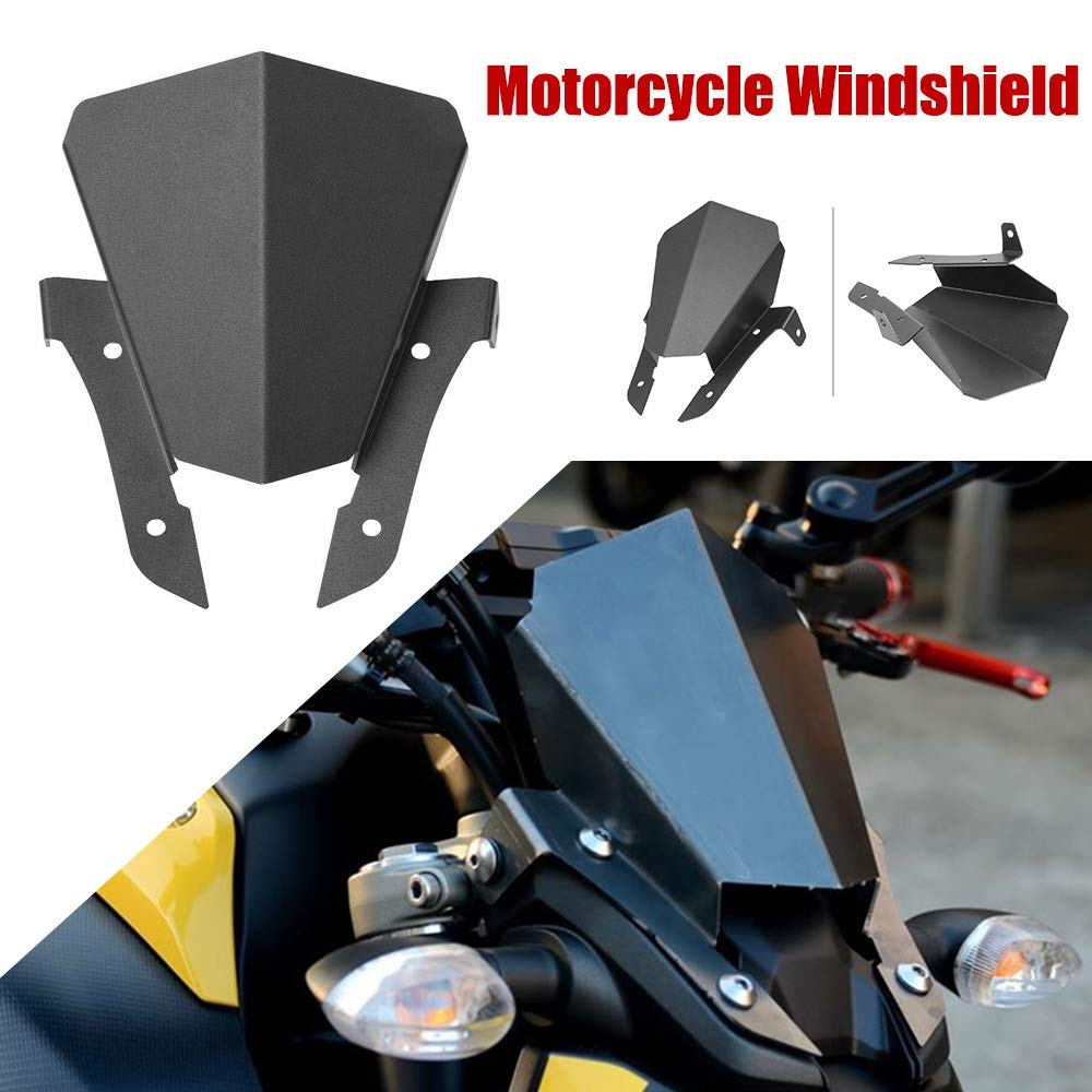 KKmoon Motorcycle Wind Deflector Universal Motorbike Windproof Guard Windshield Protector Cover Replacement for Yamaha MT07 MT-07 2013-2017