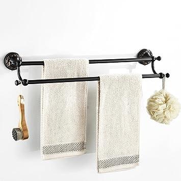ZHH Toallero Vintage para baño Colgante de Metal de Cobre Europeo para baño Tallado de Bronce Negro Doble toallero reposapiés para Colgar Toallas: ...