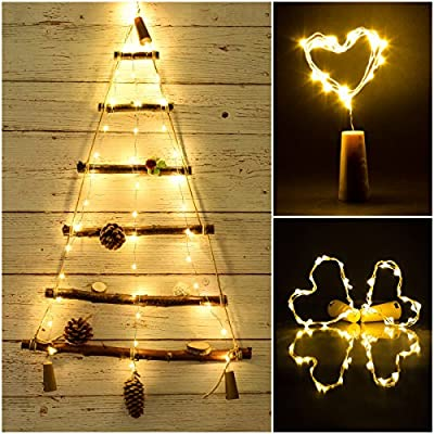LED Cork Light for Wine Bottle,Starry String Light,Pack of 6, Battery Powered,39inches,20 LEDs ,for DIY, Party, Decor,festivals,Wedding(Warm white)