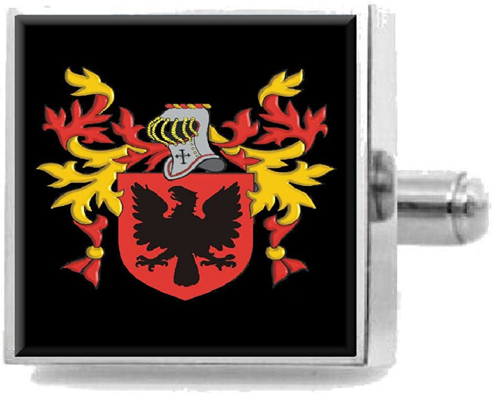 Select Gifts Leyshon Wales Family Crest Surname Coat Of Arms Cufflinks Personalised Case