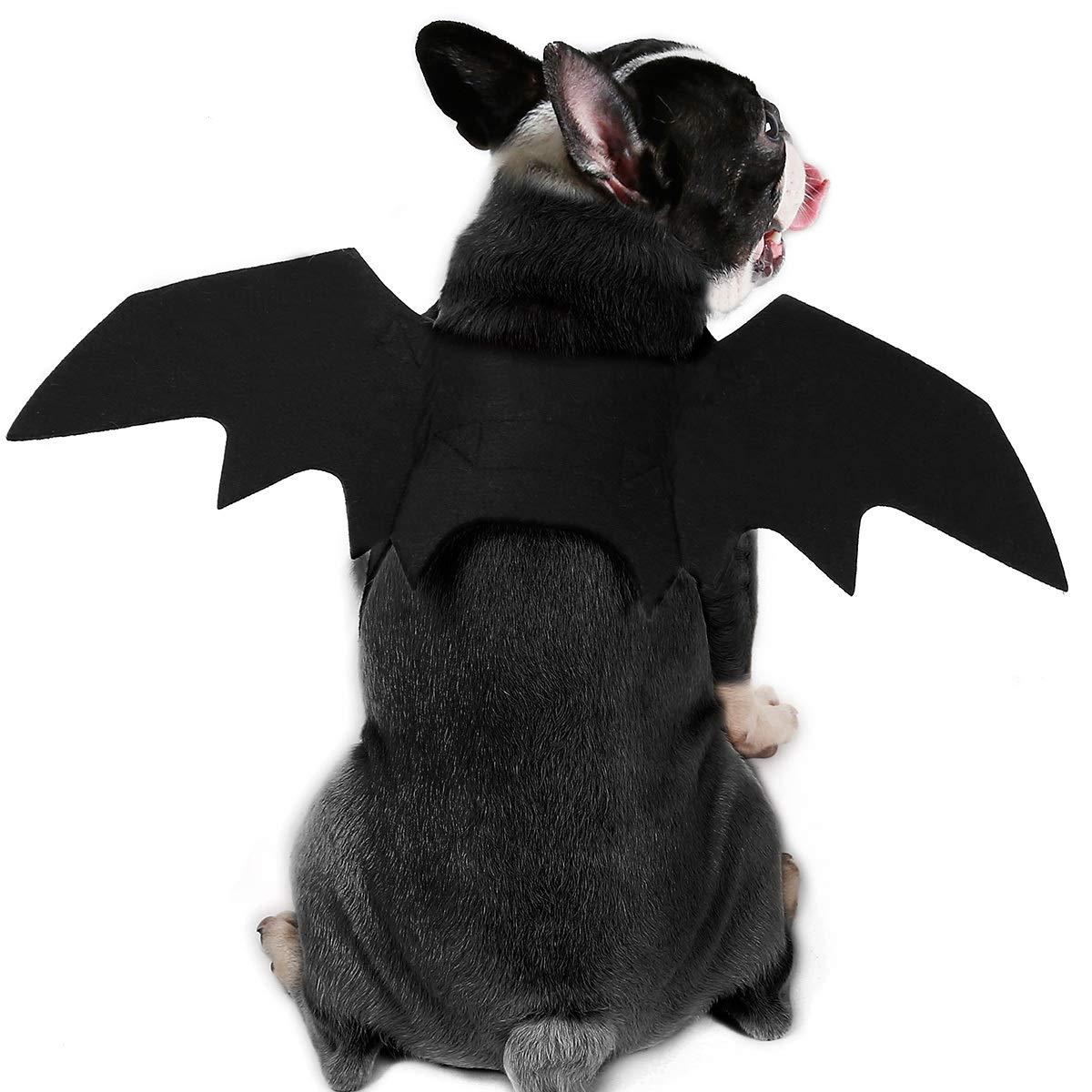 Kuoser Halloween-Haustierkost/üme Zubeh/ör Fledermausfl/ügel f/ür Hunde und Katzen Party Cosplay verstellbar Schwarz s/ü/ßes Kost/üm Requisiten