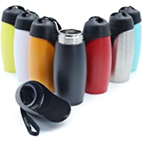 Vivaglory 25oz Stainless Steel Dog Water Bottle with Big Trough for Walking, Hiking and Traveling, Black