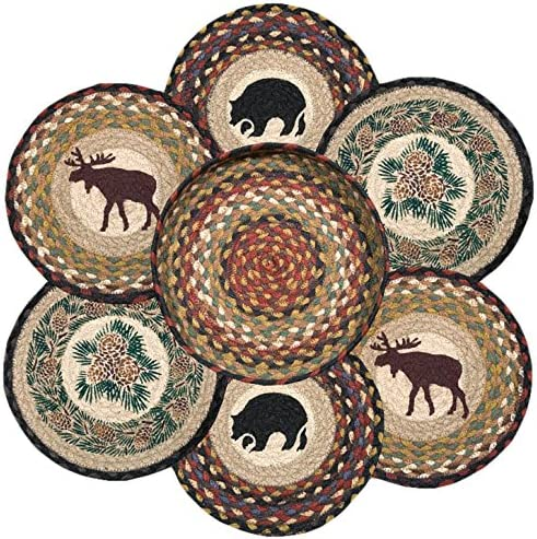 10 Earth Rugs 56-319W Wilderness Round Basket Multicolor