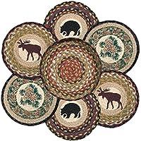 Earth Rugs 56-319W Wilderness Round Basket & 6-Trivets, 10