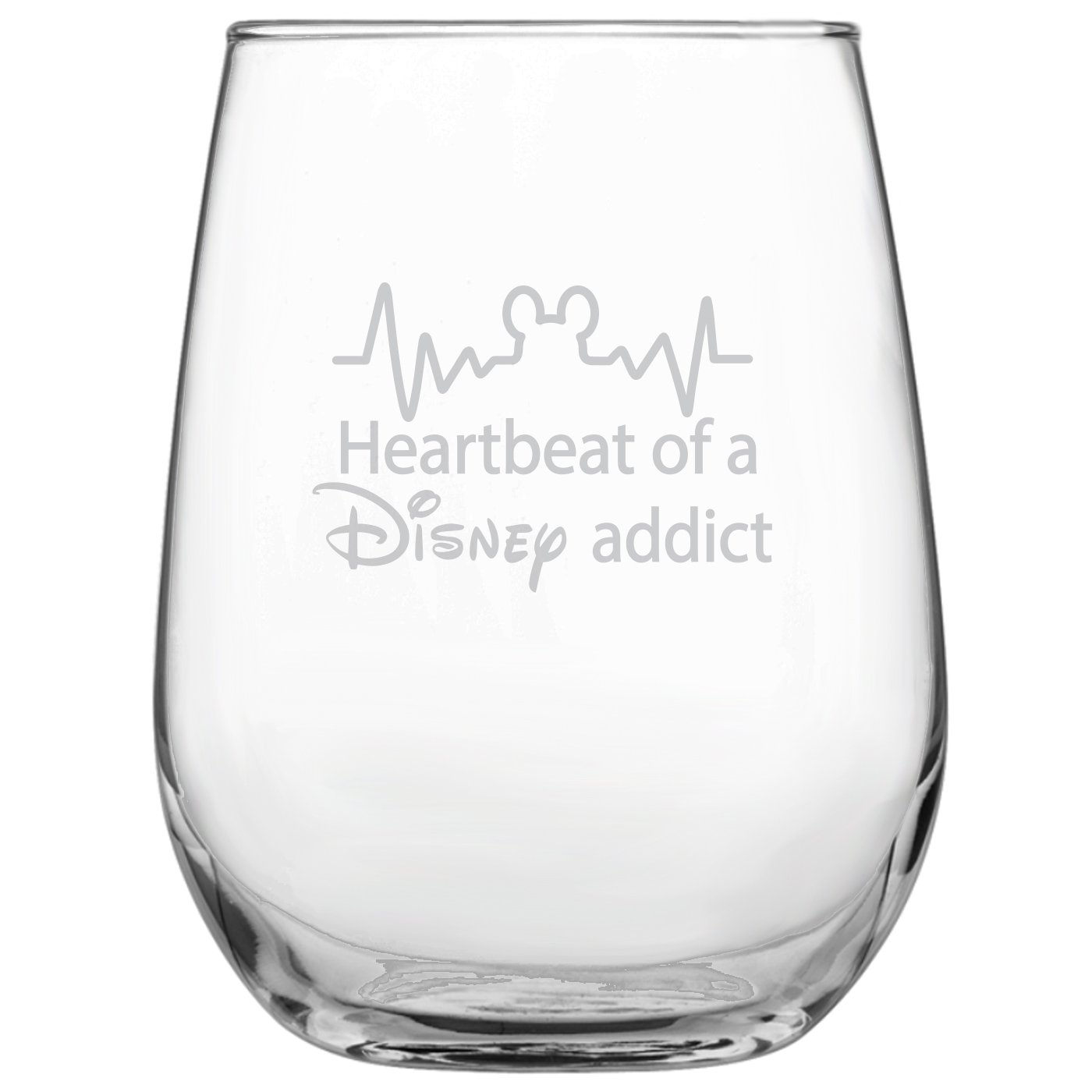 Heartbeat of a Disney Addict 17oz Stemless Wine Glass • Disney-Inspired Glass • Mickey Mouse Fan • Minnie Mouse Fan • Birthday Present • Gift for Friend