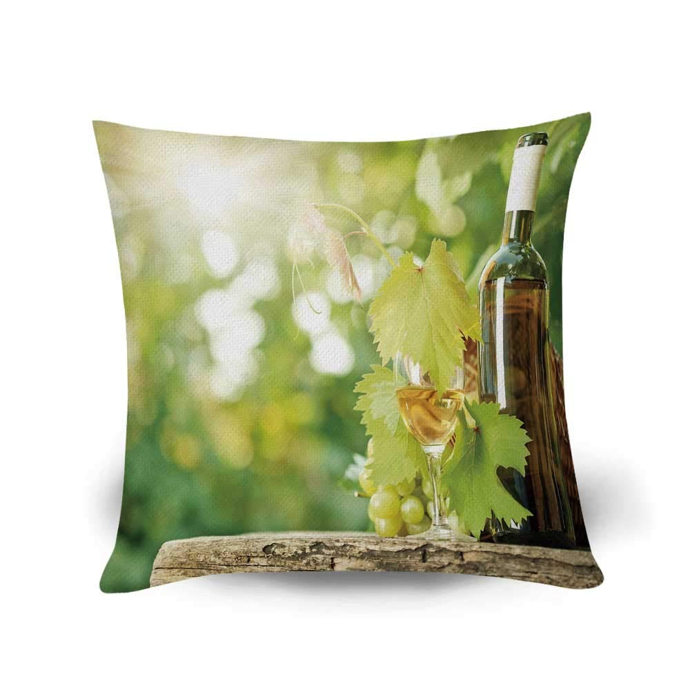 YOLIYANA Wine Fashional Throw Pillow,White Wine Bottle Glass Young Vine and Bunch of Grapes in Green Spring Decorative for Living Room Bedroom,17.7'' L x 17.7'' W by YOLIYANA