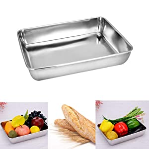 Baking Cookie Sheets Pan,Stainless Steel Baking Pans Tray Cookie Sheet,Nonstick Toaster Oven Baking Sheet Pans, Easy Clean & Dishwasher Safe(14.2'' x 11'')
