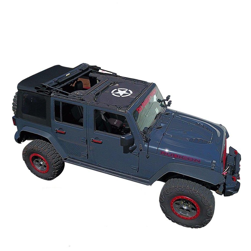 Jeep Wrangler Durable Bikini Mesh Sun Shade Top Sunshade Cover UV Protection with Storage Pockets For Jeep 2/4-Door (2007-2017)