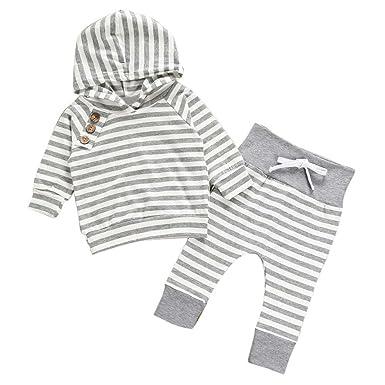YanHoo Conjunto de Pantalones con Capucha a Rayas para niños Recién Nacidos niños Baby Girl Boy Trajes Ropa con Capucha Raya Camiseta Tops + Pants Set ...