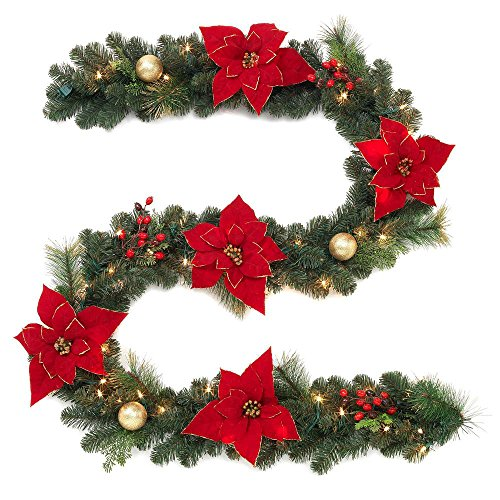 Home Accents Holiday 9 ft. Pre-Lit Artificial Christmas Garland, Beautifully Decorated with Fabric Poinsettia, Gold Ornaments, Red Berries, Pinecones, and 50 Sparkling LED Clear Lights