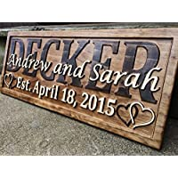 Personalized Wedding Gift Last Name Established Sign Family Name Signs Custom Wood Sign Carved Wooden Sign 3D Hearts 5 Year Anniversary Gift