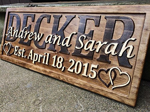 Gift Last Name Established Sign Family Name Signs Custom Wood Sign Carved Wooden Sign 3D Hearts 5 Year Anniversary Gift (Classic Carved Plaque)
