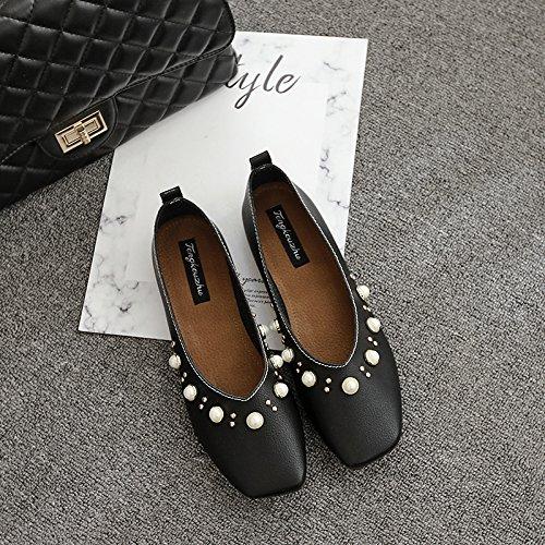 Xue Qiqi Court Schuhe Quadratische Flache Schuhe Flache Schuhe Flache Flache Flache mit flachen Perlen Strass Freizeitschuhe 37 schwarz f93cfc