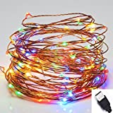 LED String Lights, SOLLA String Copper Wire Lights USB Powered, 33ft 100LEDs Color, Waterproof Starry String Lights Décor Rope Lights for Indoor Outdoor Wedding Party Christmas Holiday Patio