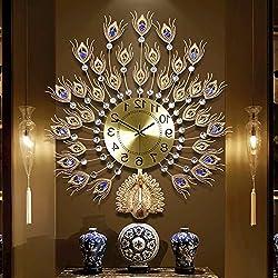 Y-Hui Peacock Wall Clock Living Room Clocks Wall Clock Home Mute Clock Electronic Clock Decorative Wall Table Quartz Clock, Other, Upgrade - Medium - Gold 6370Cm