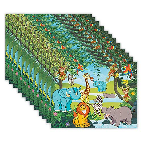 Kicko Make a Zoo Sticker - Set of 12 Animal Stickers Scene for Birthday Treat, Goody Bags, School Activity, Group Projects, Room Decor, Arts and Crafts