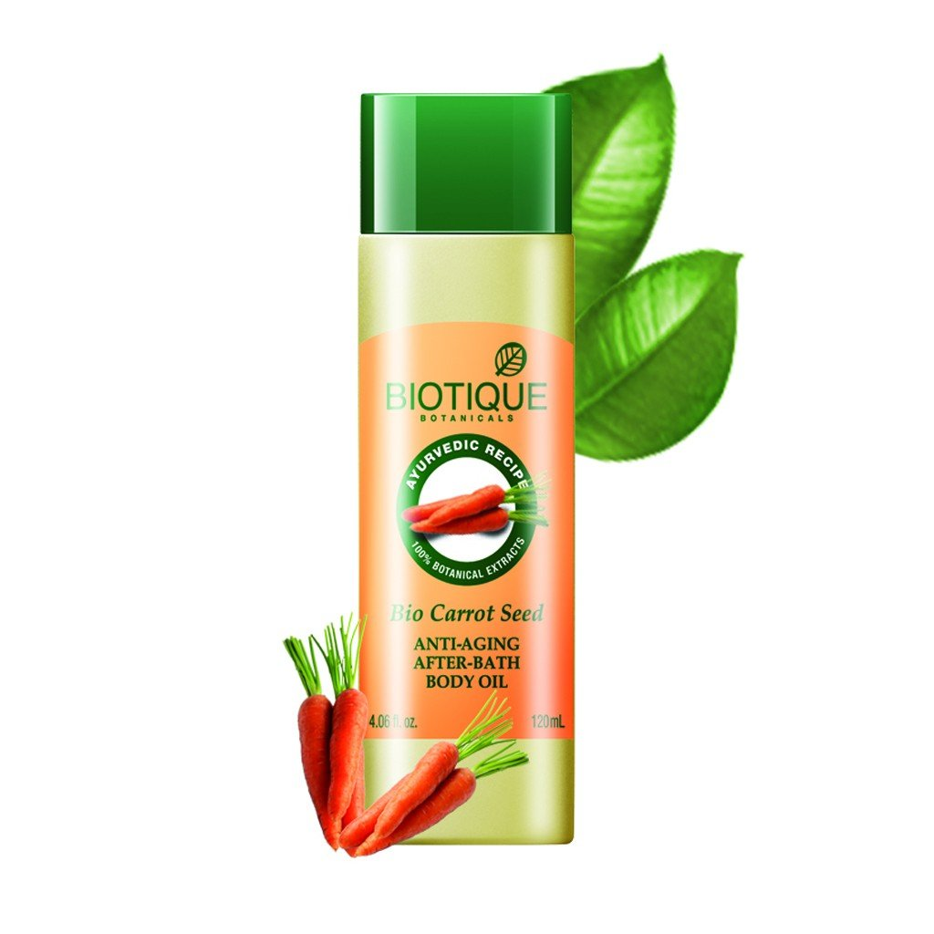 Biotique Bio Carrot Seed Anti Aging After Bath Body Oil, 120ml (Pack of 2)