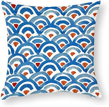 Yy One Decorative Cotton Pillow Covers Boho Eclectic Blue And Orange Throw Pillow Case Cushion Cover Home Decor Square 18 X 18 Inches Amazon Co Uk Kitchen Home