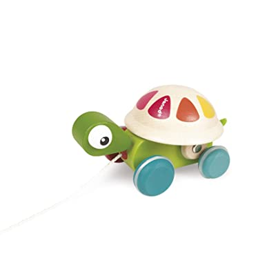Janod Zigolos Pull Along Turtle Early Learning and Motor Skills Toy with Spinning Rainbow Shell Made of FSC Certified Beech and Cherry Wood for Ages 12 Months+: Toys & Games