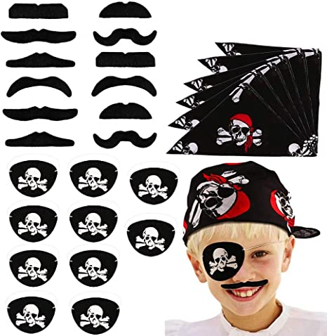 Pirate Captain Eye Patches Masquerade Accessories for Children Party Favors and Costume Prop 10PCS Halloween Pirate Themed Party Supplies