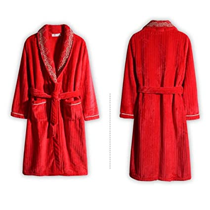 5a93e1dca2 XQY Comfortable Home Pajamas Bathrobe Shop Cotton with Pockets Nightgown  Autumn and Winter Ms Red Polyester Thicken Medium-Long Section Pajamas Men s  and ...