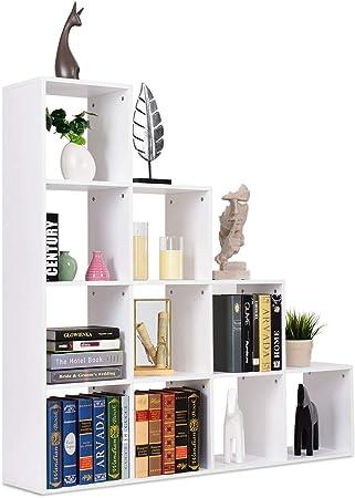 COSTWAY Estantería Escalera de Madera Estante Organizador para Libros CD Floreros en Escritorio Hogar Salón Oficina Almacenamiento: Amazon.es: Hogar