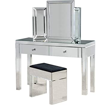 official photos 0321e f107f Mirrored Dressing Table Set Furniture Glass With Drawer Console Bedroom  With Table Top Bevelled Mirror and Stool