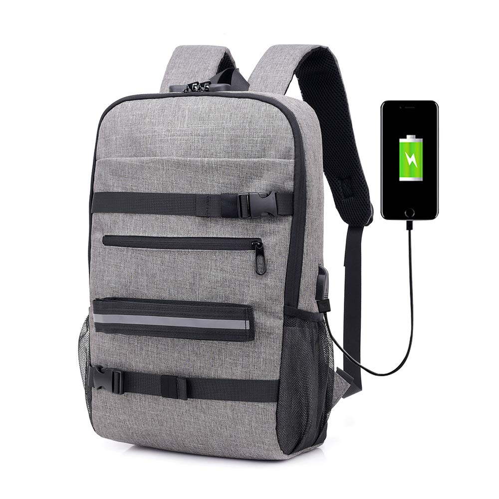 Unisex Laptop Backpack Travel Anti Theft Backpack Water Resistant Slim Business Computer Bag with USB Charging Port Headphone Interface for College
