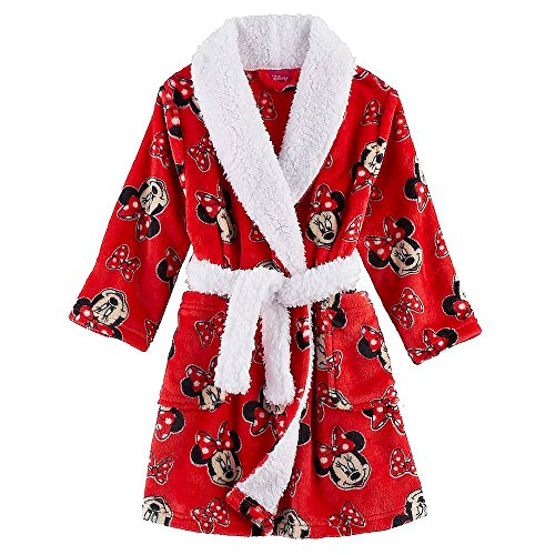 - AME Minnie Mouse Girl's Red and White Shawl Collar Luxe Fleece Bathrobe, Robe (4T)