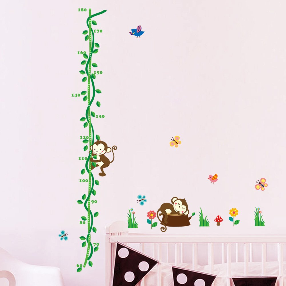ufengke® Monkey and Tree Vine Flowers and Butterflies Height Chart Decals, Children's Room Nursery Removable Wall Stickers Murals, B