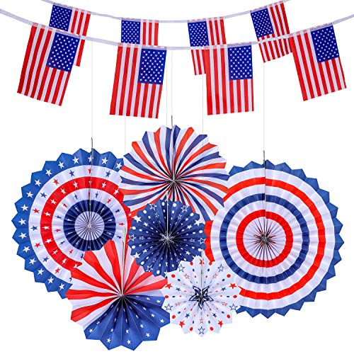 VOICE PLAYER 4th of July Patriotic Decorations - 6 Hanging Paper Fans and 2 American Flag Banners(40 USA Flags), Independence Day Red White Blue Decro, USA Theme Party Decor -