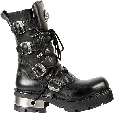 NEW ROCK 7604-S1 Mens Metallic Black Gothic Biker Western Metal Boots