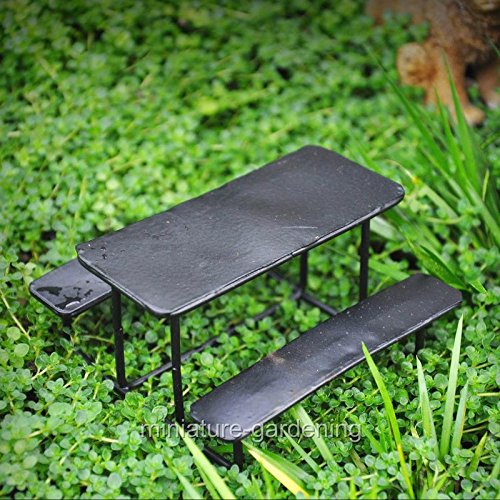 Black Metal Picnic Table for Miniature Garden, Fairy Garden - My Mini Garden Dollhouse Accessories for Outdoor or House Decor