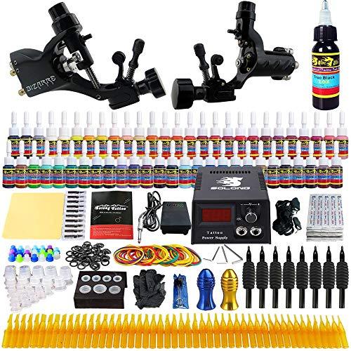 Solong Tattoo Complete Tattoo Kit 2 Pro Rotary Tattoo Machine Guns 54 Inks Power Supply Foot Pedal Needles Grips Tips TK255