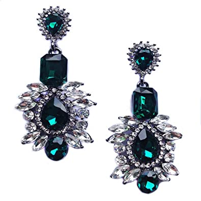 c2adb4ce82 Juran® 3 Colors Fashion Large Crystal Stud Earrings (Green): Amazon ...