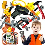 Skoolzy Kids Tool Set Toddler Toys Construction Montessori Materials with Real Cordless Drill, Tape Measure, Screwdriver, Toy Hammer, Wrench, Nuts and Bolts | 29 Pretend Play Tools with Toy Storage