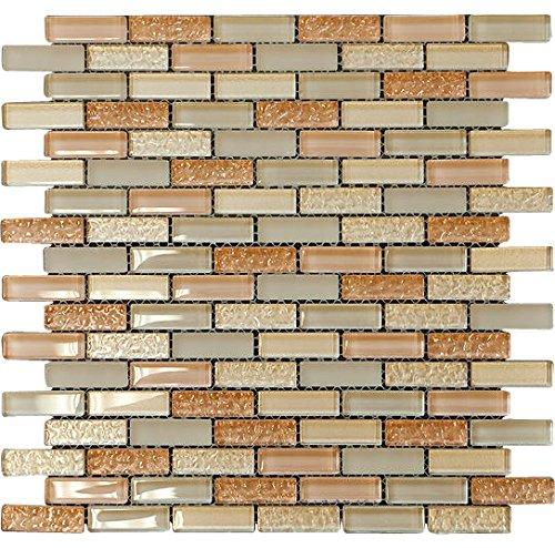 (Nude Crystal Glass Mosaic Tile Brick Pattern (Glossy&Matte) for Bathroom and Kitchen Walls Kitchen Backsplashes By Vogue Tile )