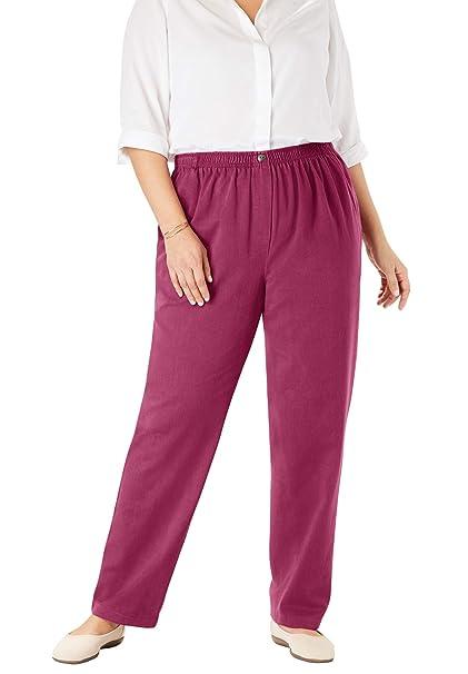 Amazon.com: Pantalón de pierna recta de algodón con cintura ...