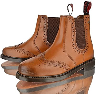 Mens New LUCINI Real Leather Biker Slip On Chelsea Ankle Gusset Boots Shoes