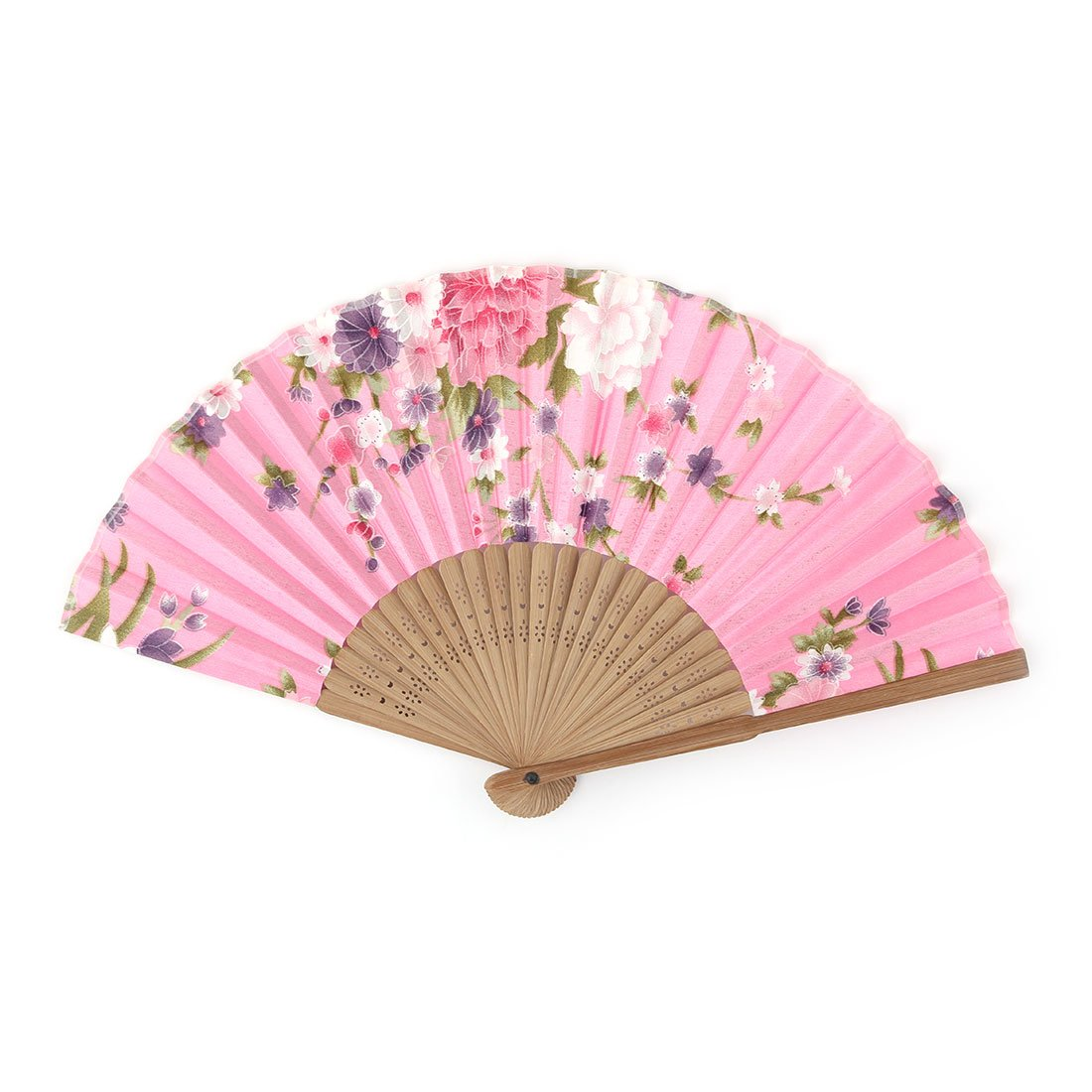 uxcell Bamboo Frame Peony Flower Printed Wedding Party Ornament Foldable Hand Fan a16092900ux0046